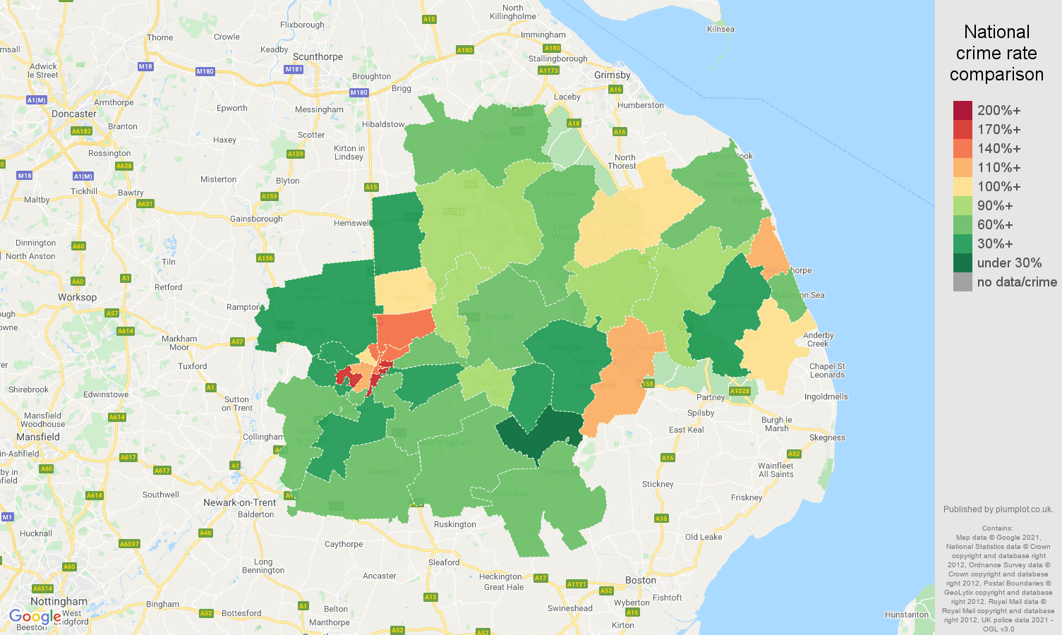 Lincoln violent crime rate comparison map
