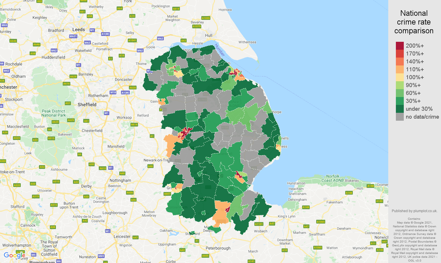Lincolnshire bicycle theft crime rate comparison map