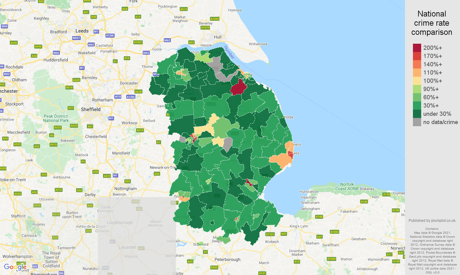 Lincolnshire drugs crime rate comparison map