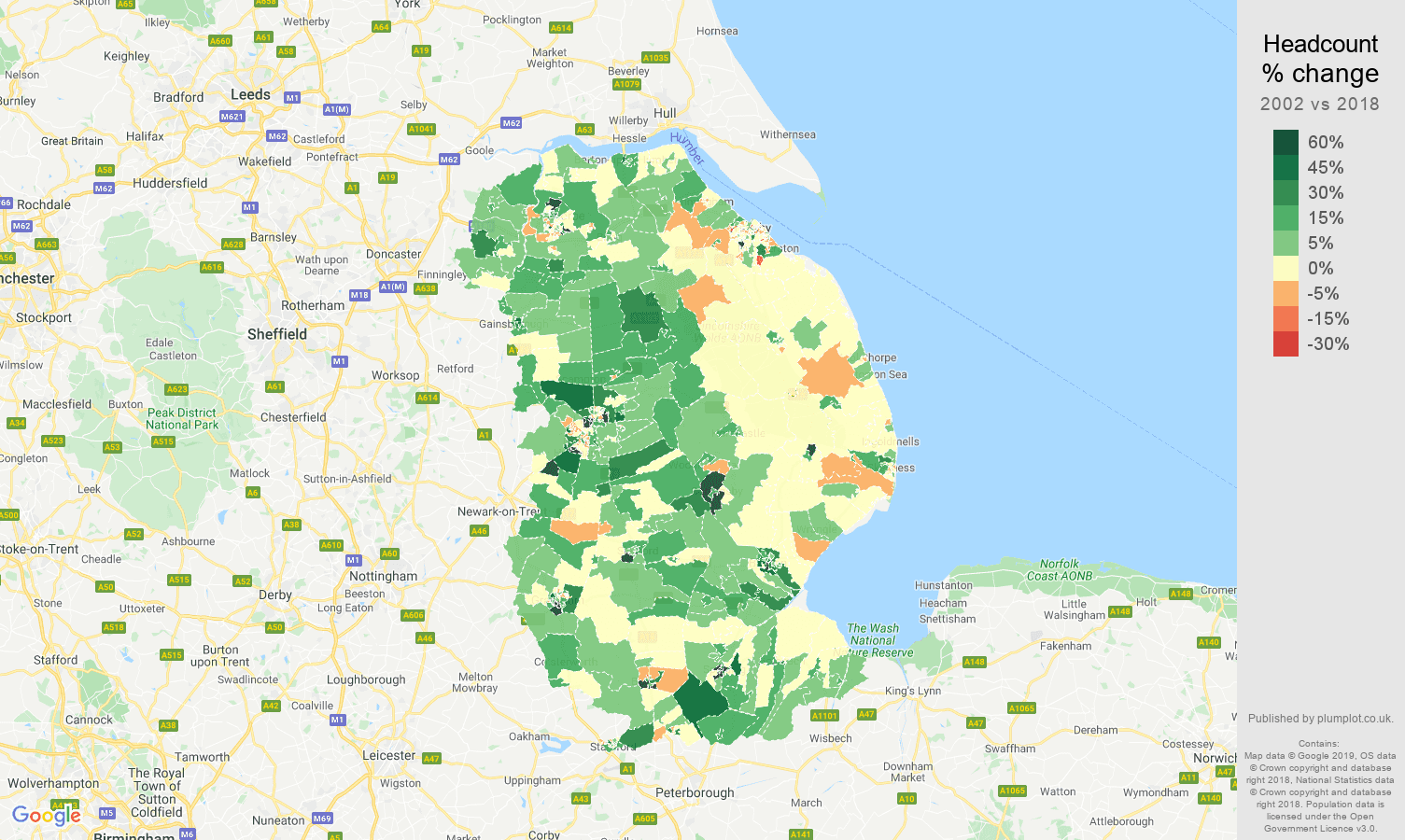 Lincolnshire headcount change map