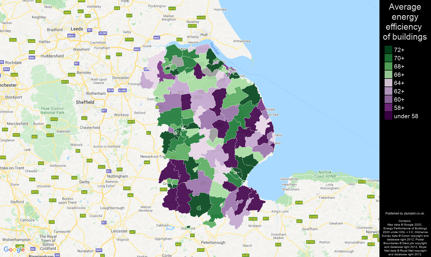 Lincolnshire map of energy efficiency of flats