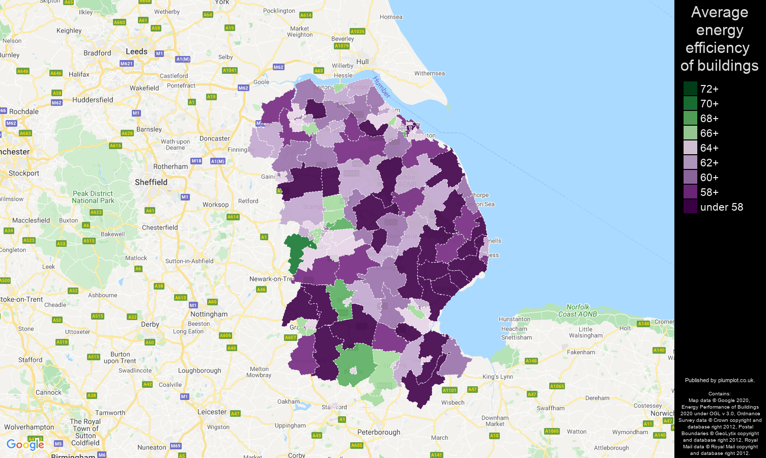 Lincolnshire map of energy efficiency of properties