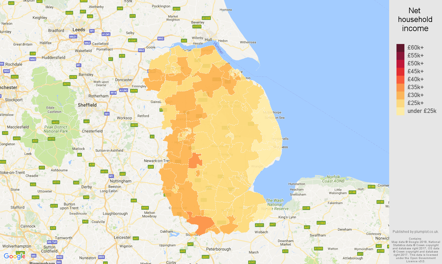 Lincolnshire net household income map