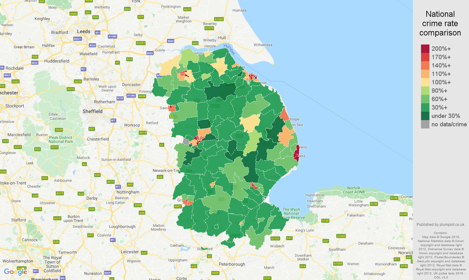 Lincolnshire public order crime rate comparison map