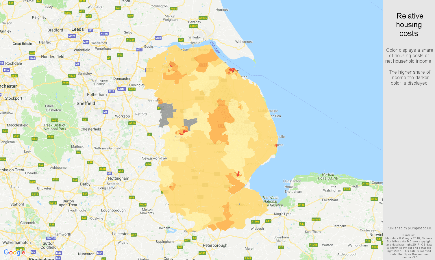 Lincolnshire relative housing costs map