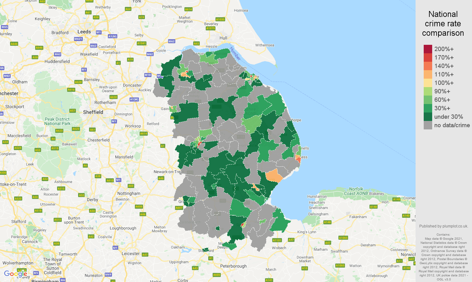 Lincolnshire robbery crime rate comparison map