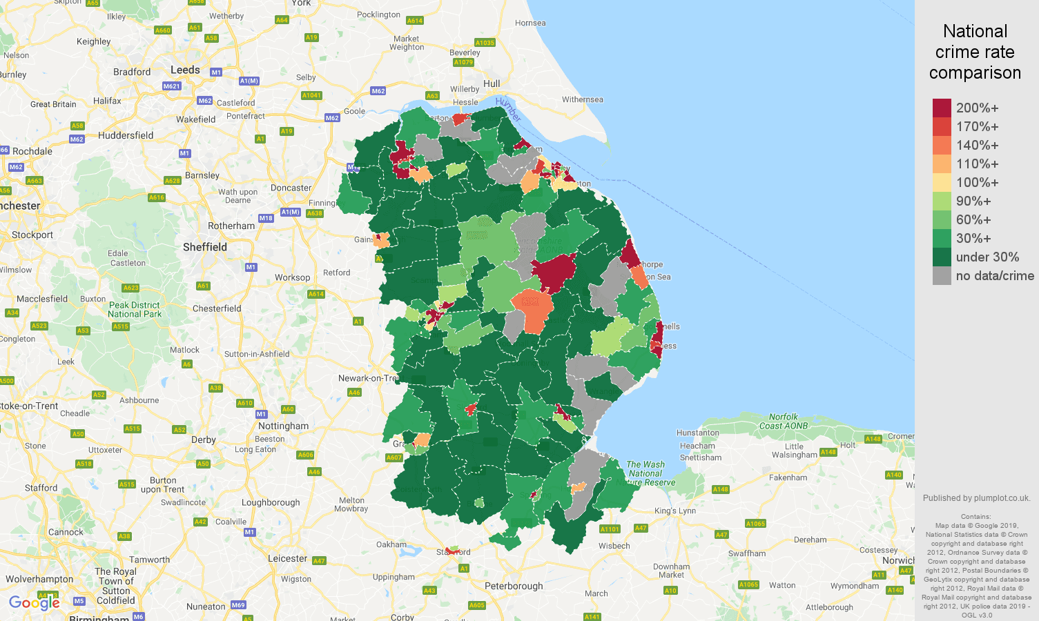 Lincolnshire shoplifting crime rate comparison map