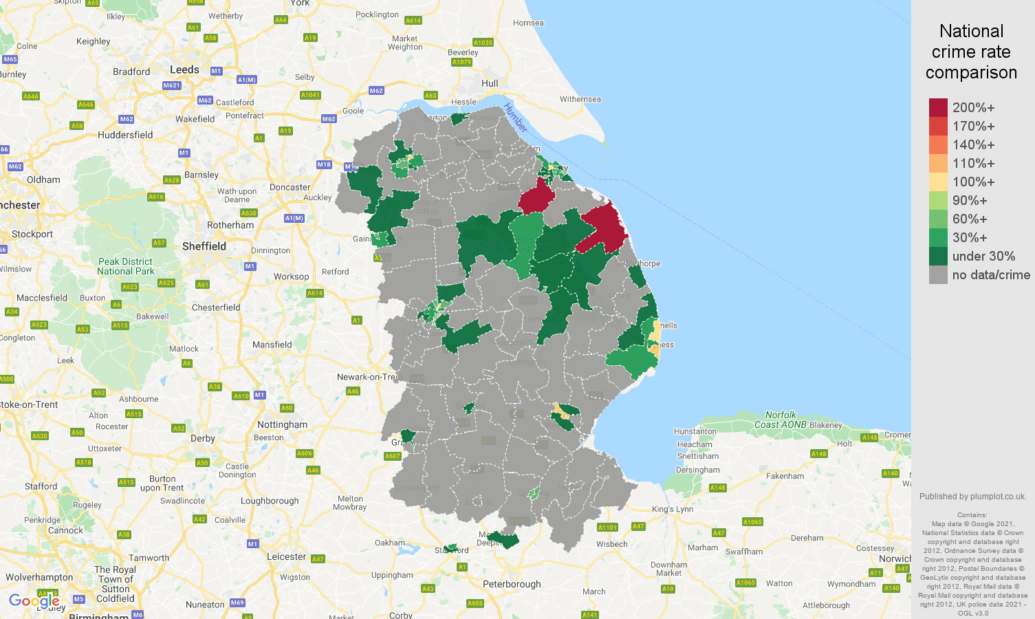 Lincolnshire theft from the person crime rate comparison map
