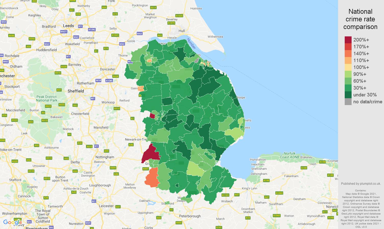 Lincolnshire vehicle crime rate comparison map