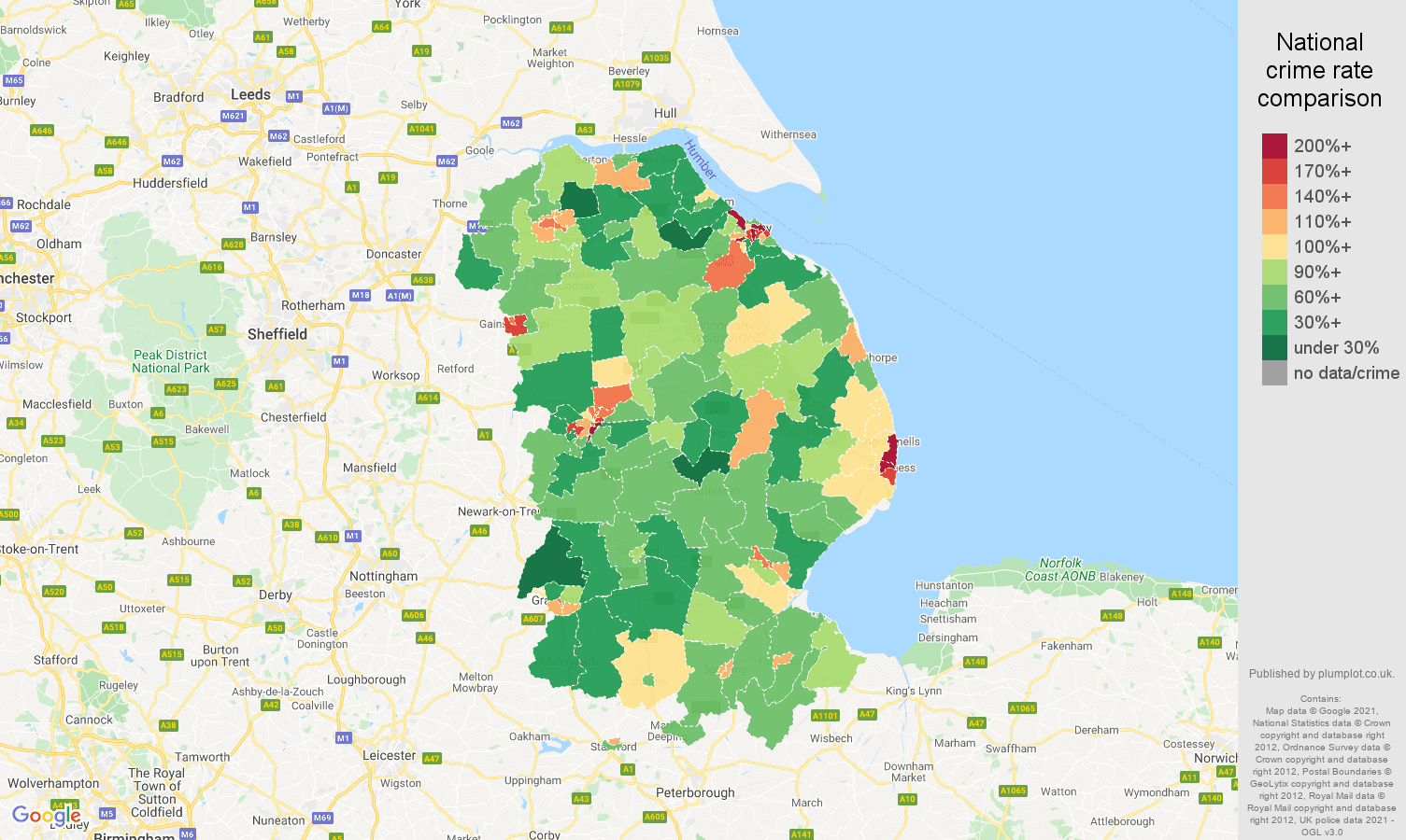 Lincolnshire violent crime rate comparison map