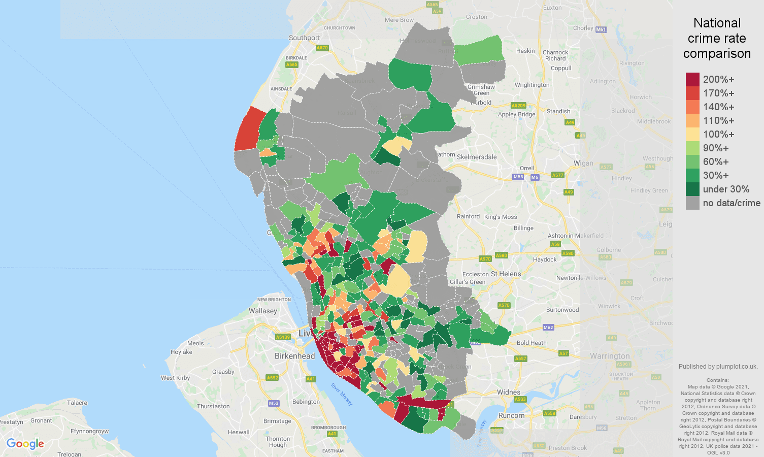 Liverpool bicycle theft crime rate comparison map