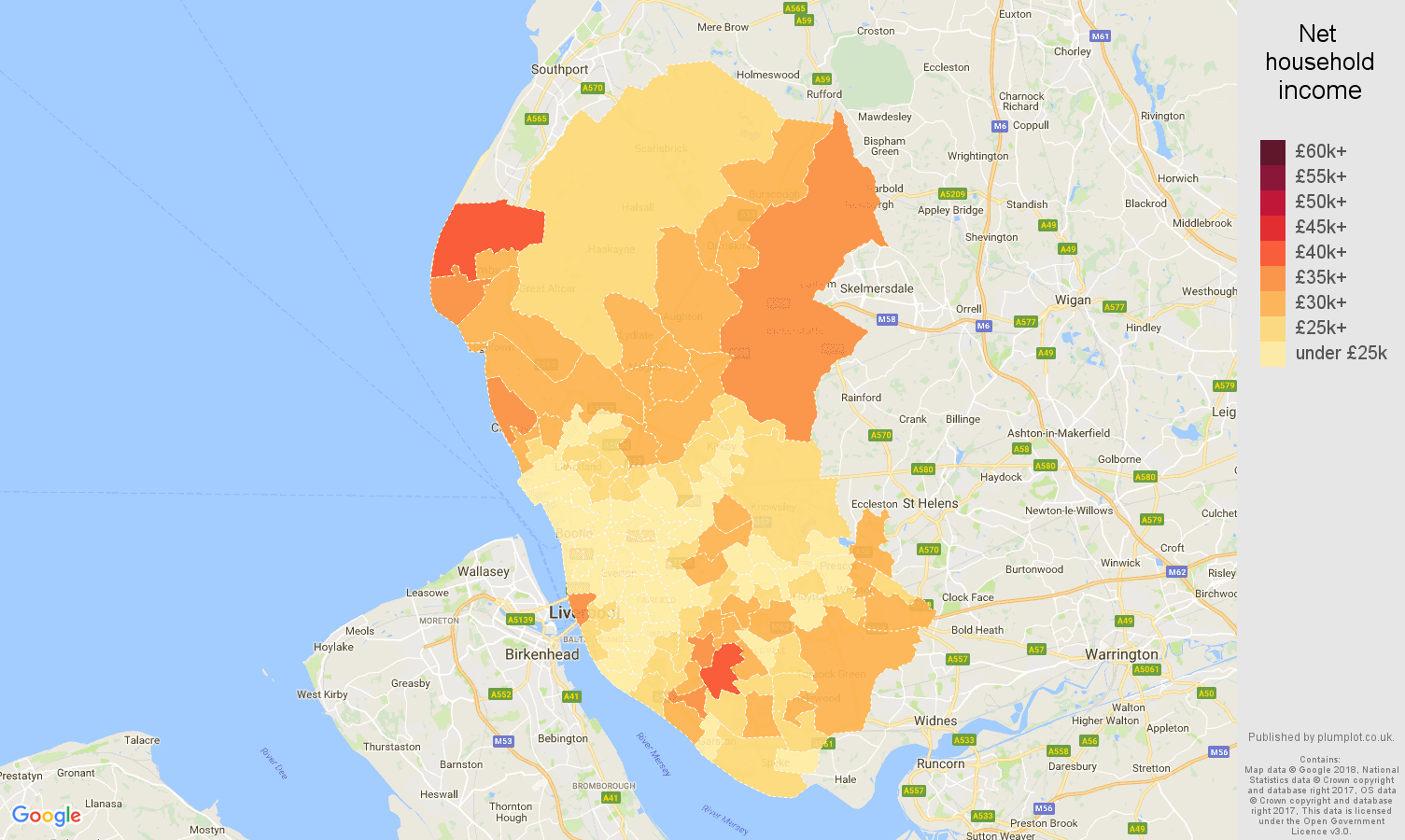Liverpool net household income map