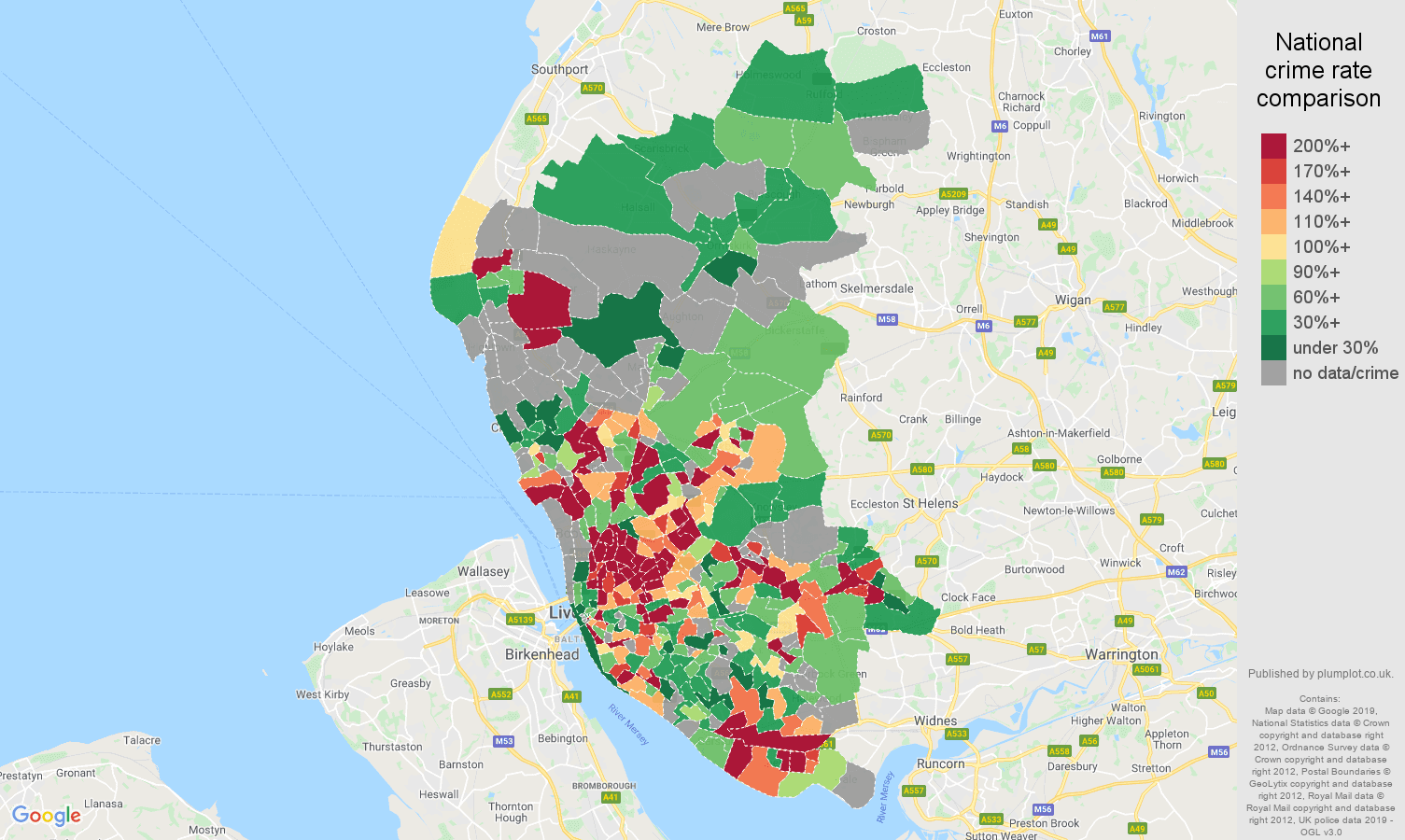 Liverpool other crime rate comparison map