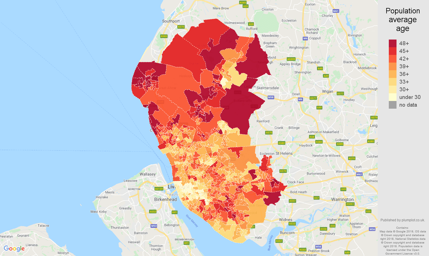 Liverpool population average age map