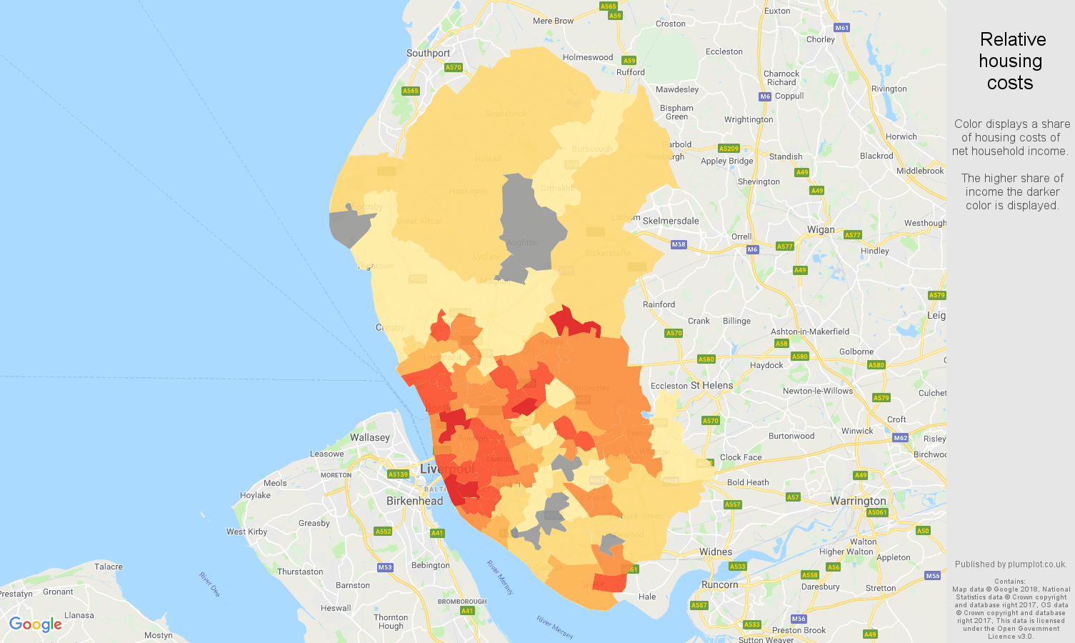 Liverpool relative housing costs map