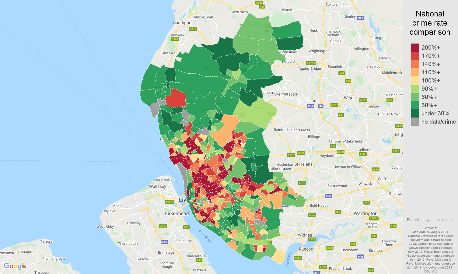 Liverpool violent crime rate comparison map