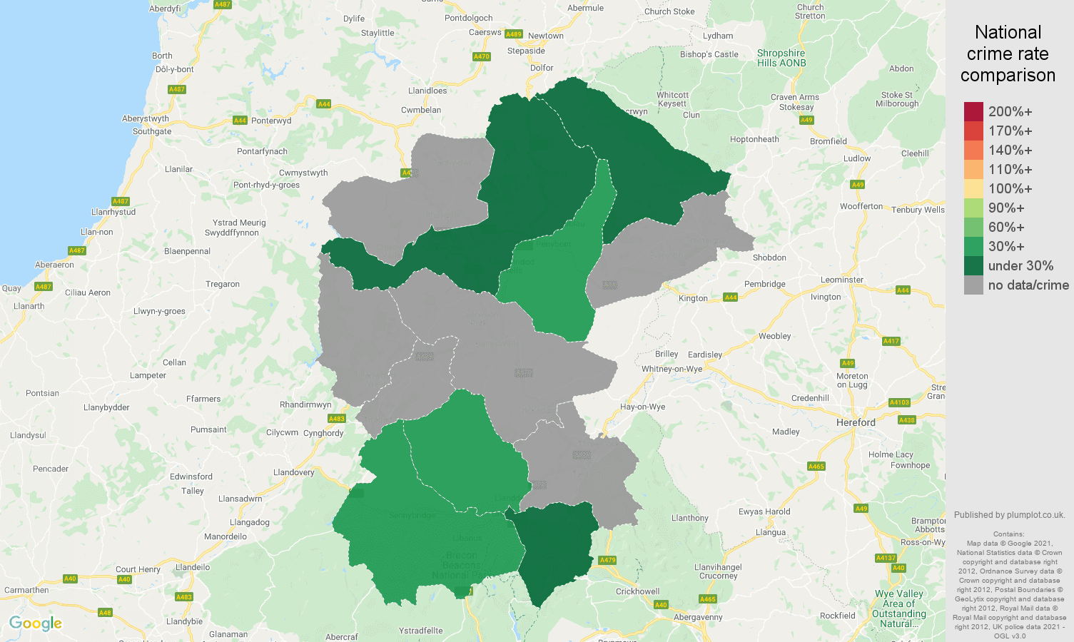 Llandrindod Wells bicycle theft crime rate comparison map
