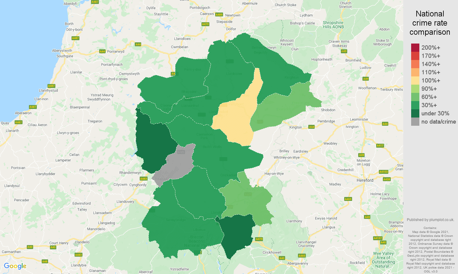 Llandrindod Wells burglary crime rate comparison map