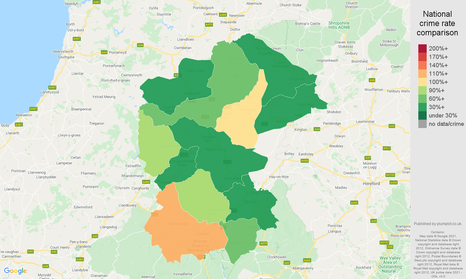 Llandrindod Wells criminal damage and arson crime rate comparison map
