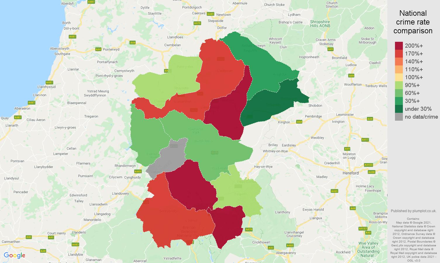 Llandrindod Wells drugs crime rate comparison map