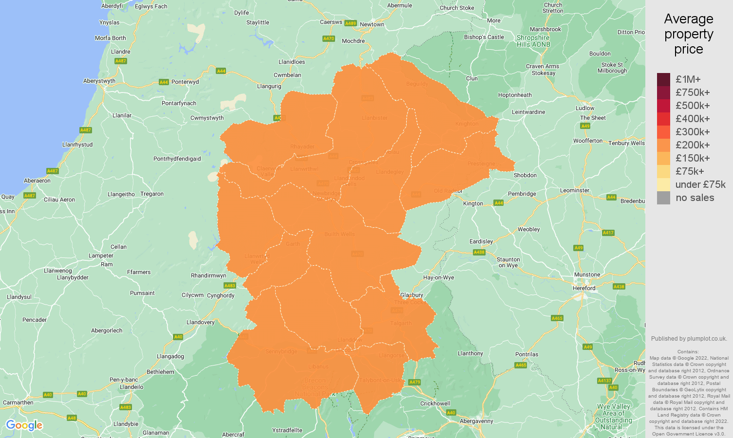 Llandrindod Wells house prices map