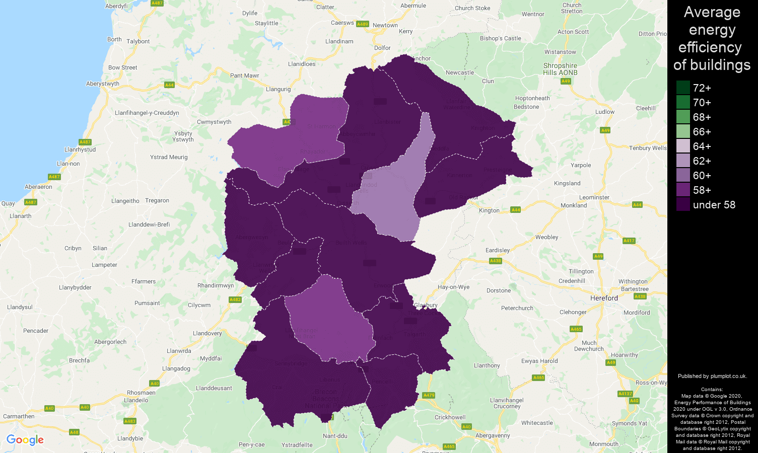 Llandrindod Wells map of energy efficiency of properties