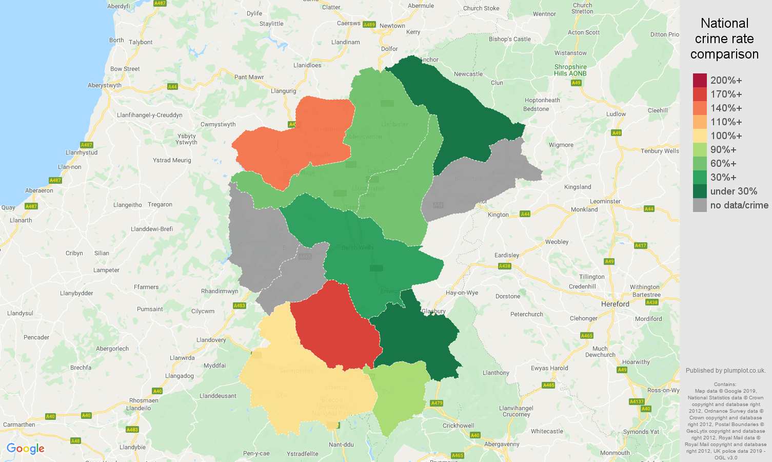 Llandrindod Wells possession of weapons crime rate comparison map