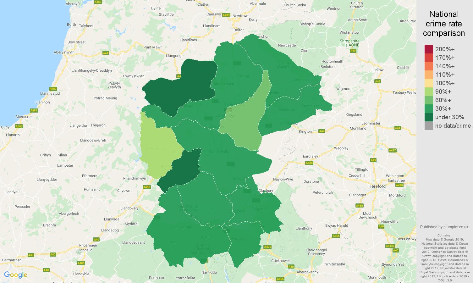 Llandrindod Wells public order crime rate comparison map
