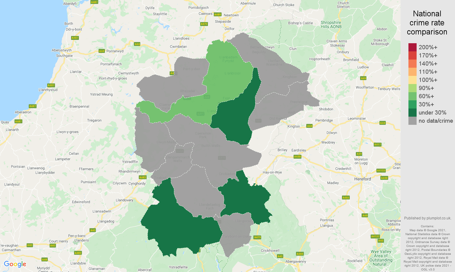 Llandrindod Wells robbery crime rate comparison map