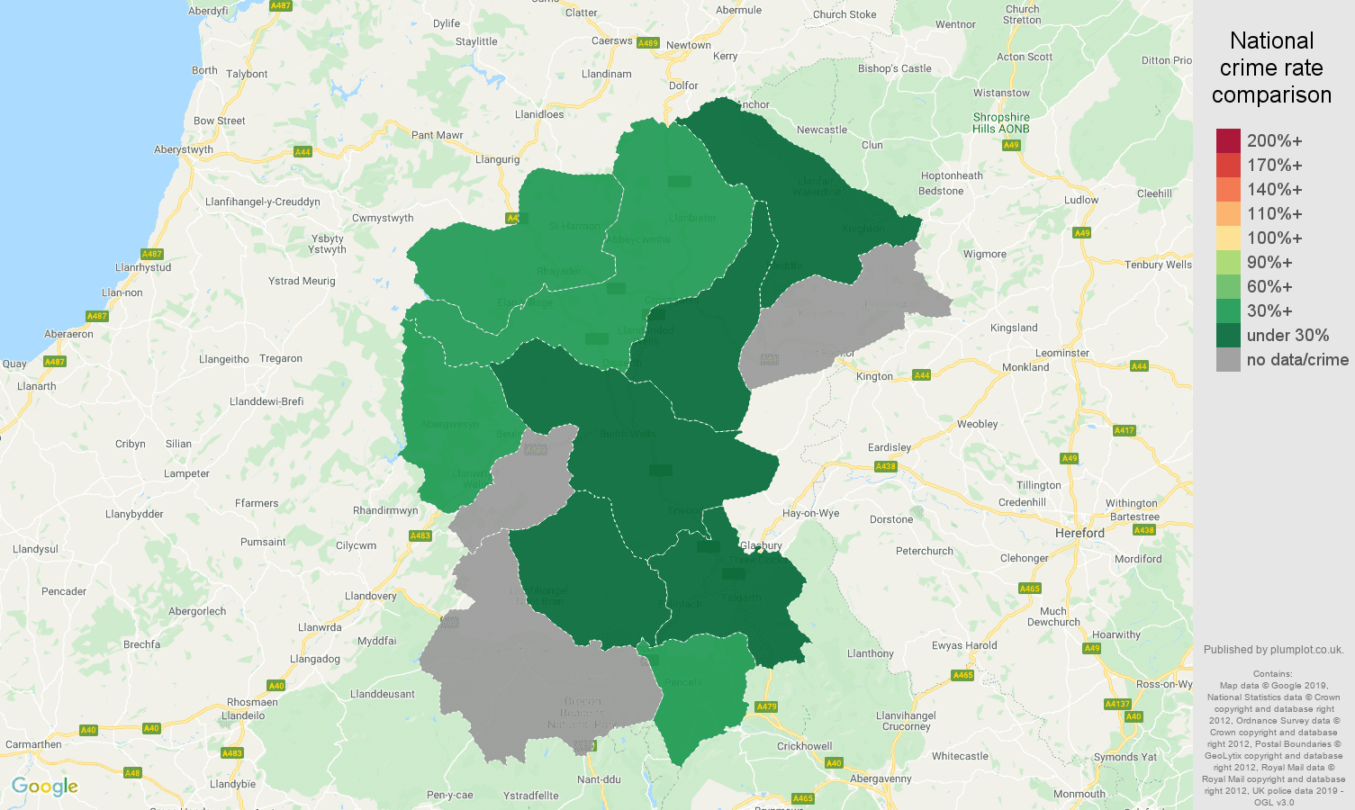 Llandrindod Wells shoplifting crime rate comparison map