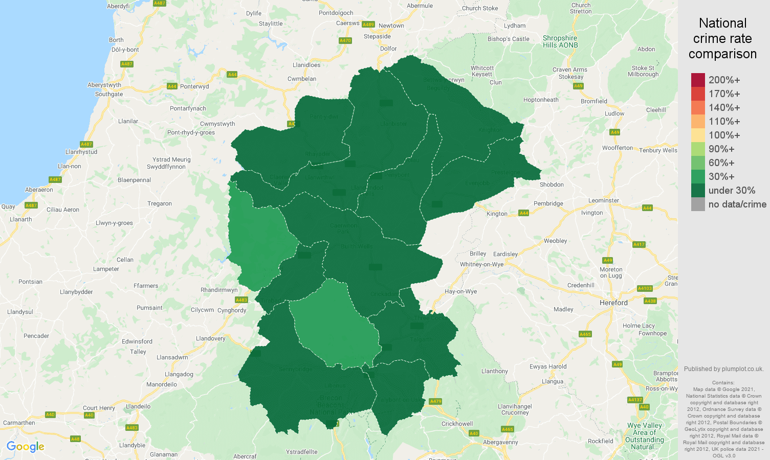 Llandrindod Wells vehicle crime rate comparison map