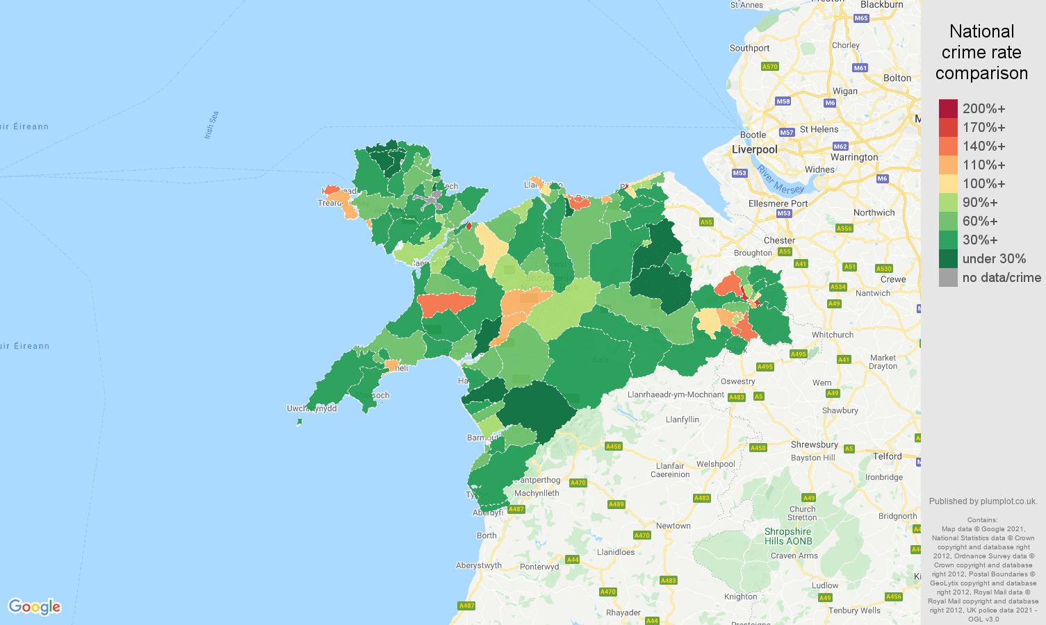 Llandudno antisocial behaviour crime rate comparison map
