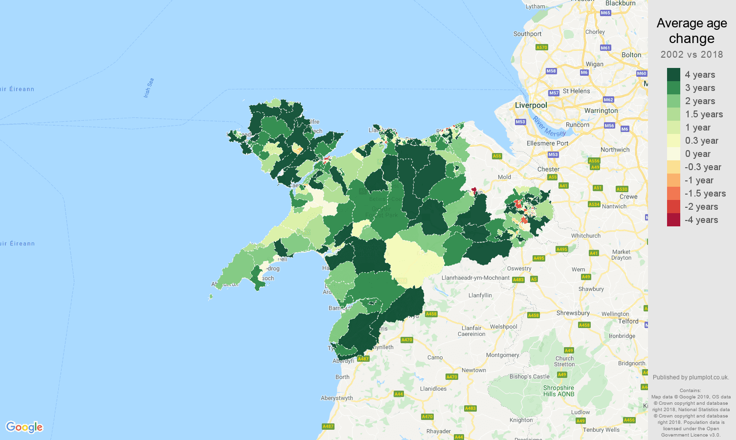 Llandudno average age change map
