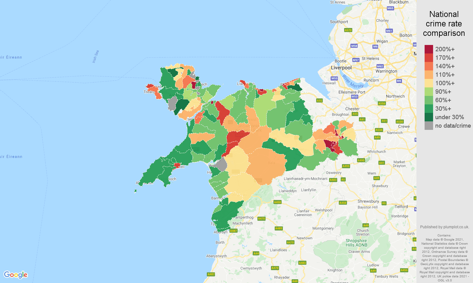 Llandudno criminal damage and arson crime rate comparison map