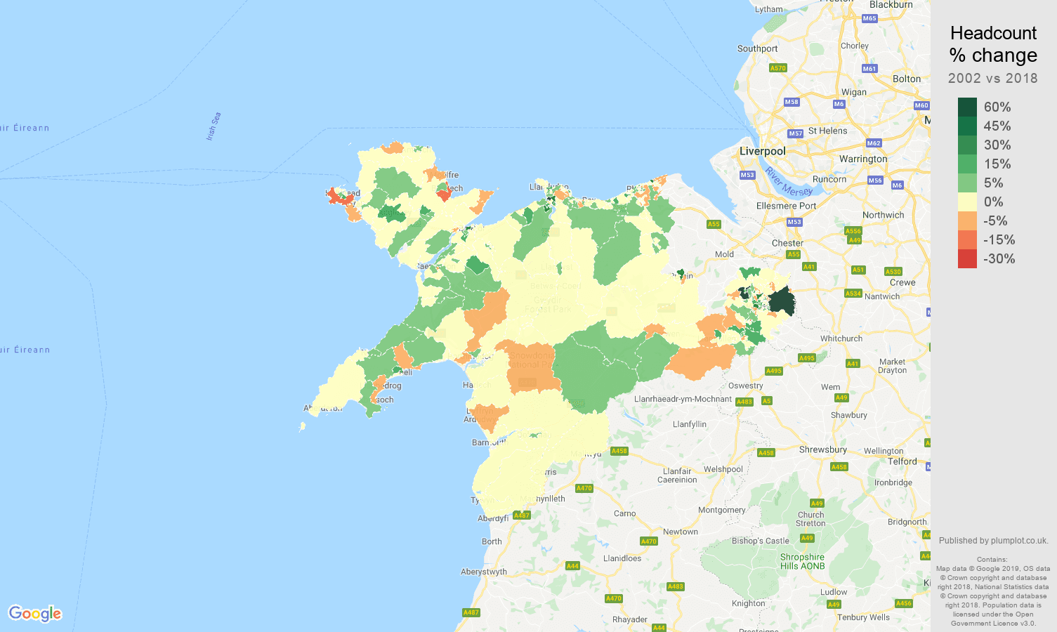 Llandudno headcount change map