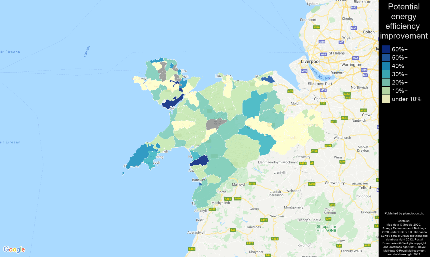 Llandudno map of potential energy efficiency improvement of flats