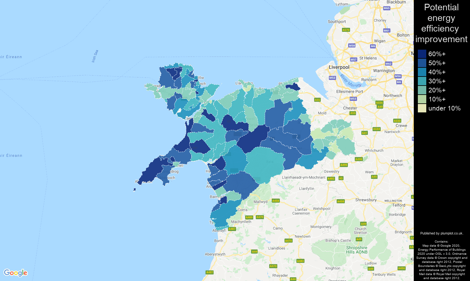 Llandudno map of potential energy efficiency improvement of properties