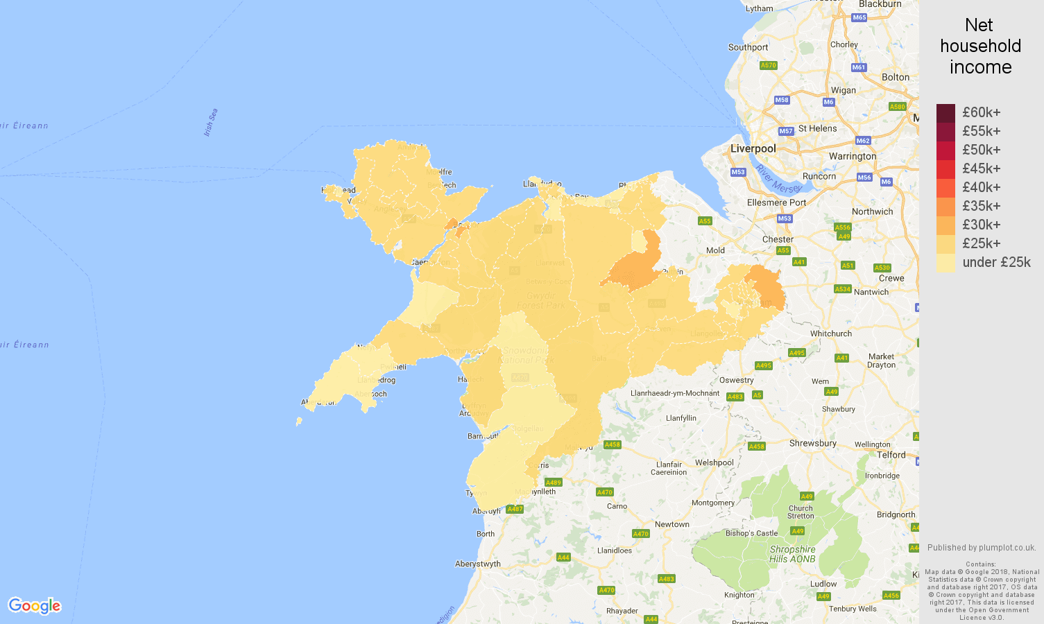 Llandudno net household income map
