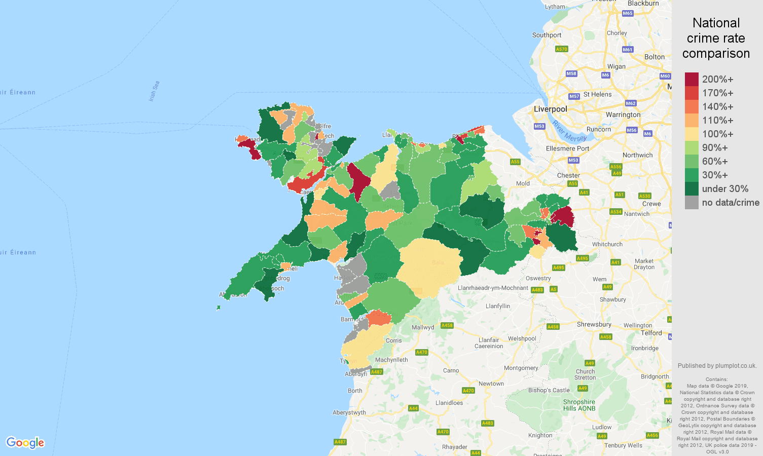 Llandudno other crime rate comparison map