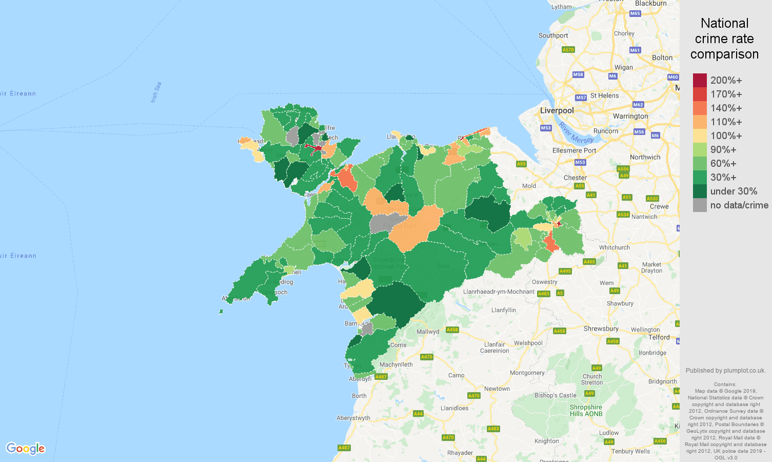 Llandudno other theft crime rate comparison map