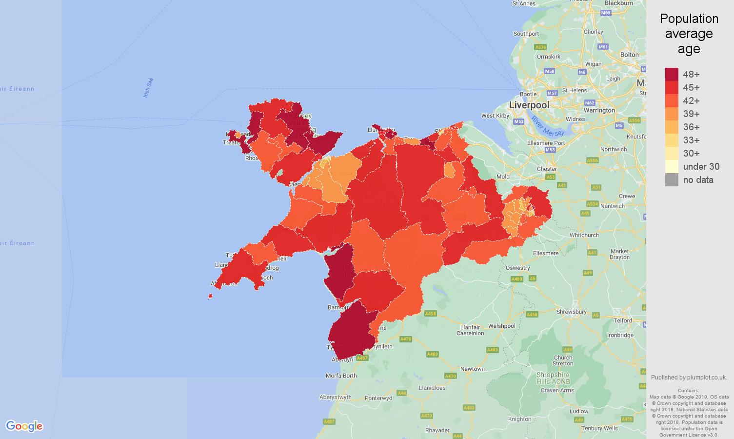 Llandudno population average age map