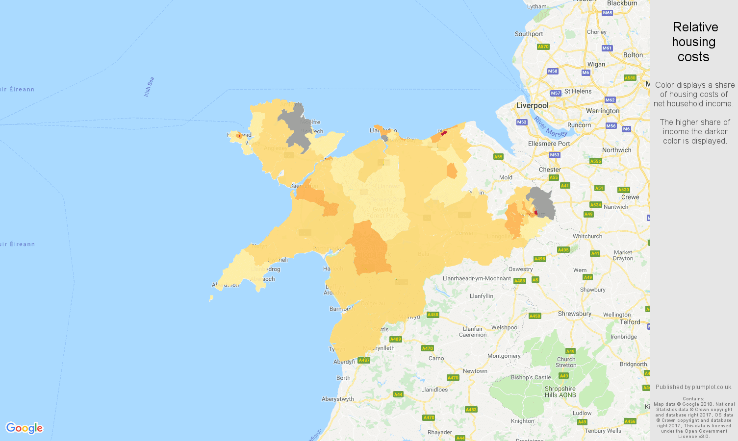 Llandudno relative housing costs map