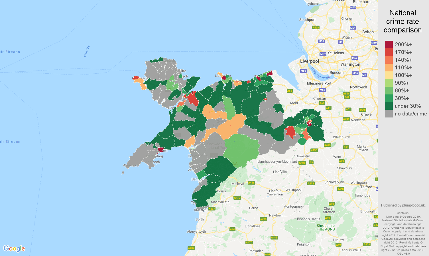 Llandudno shoplifting crime rate comparison map