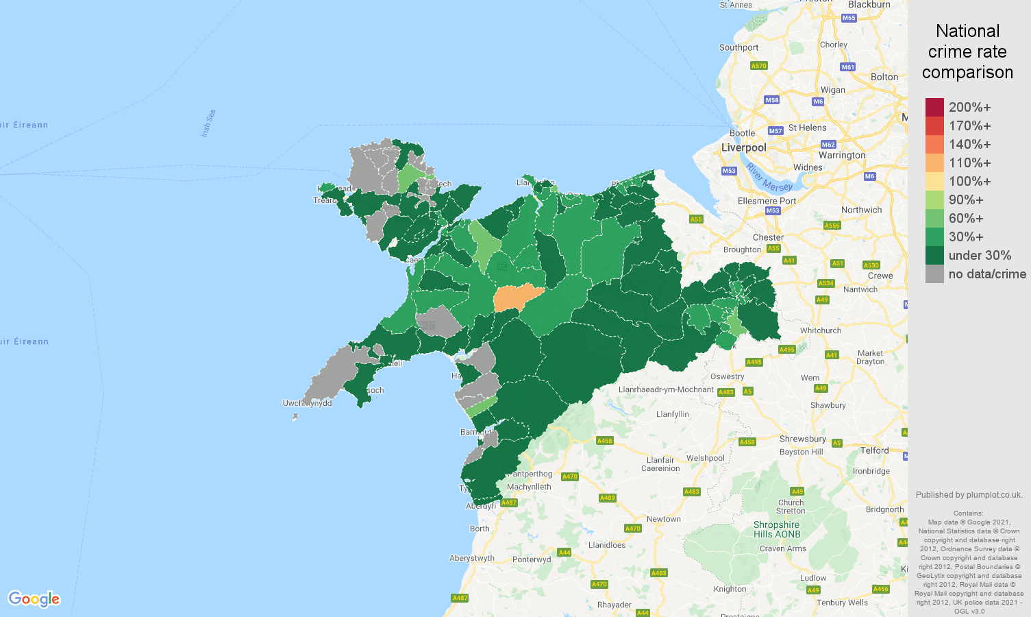 Llandudno vehicle crime rate comparison map
