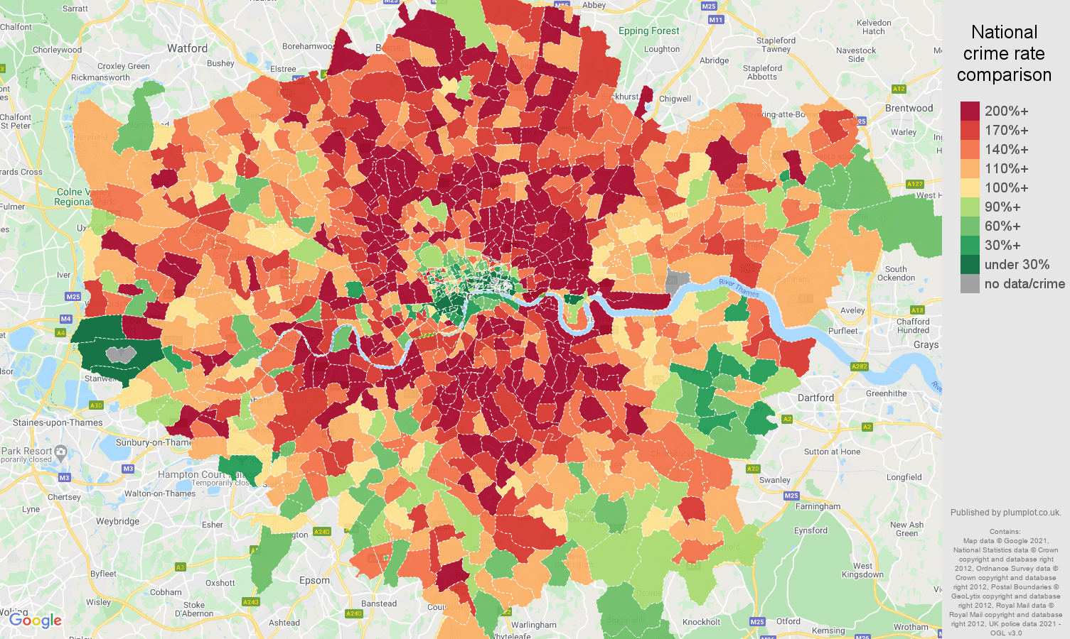 London burglary crime rate comparison map