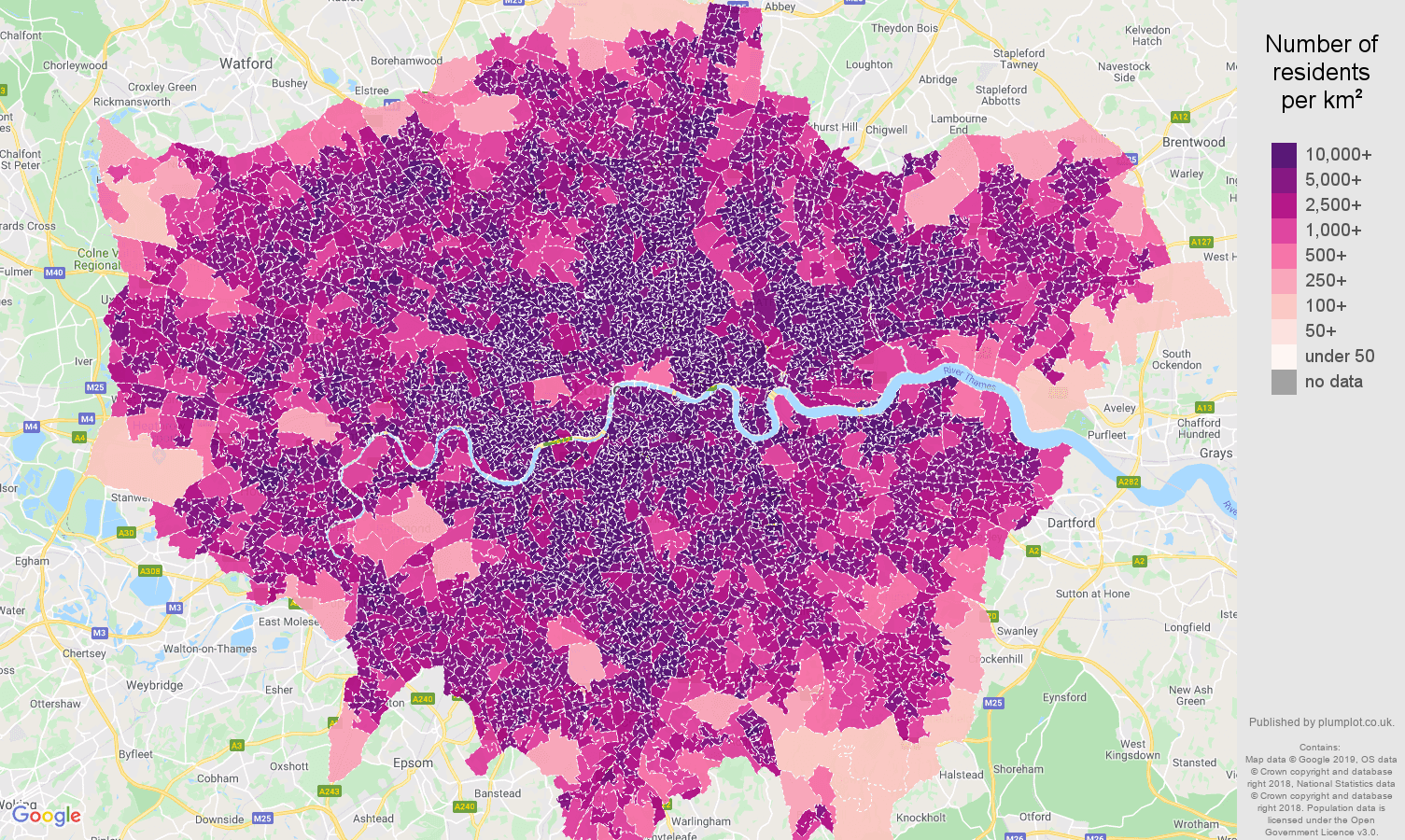 London population density map