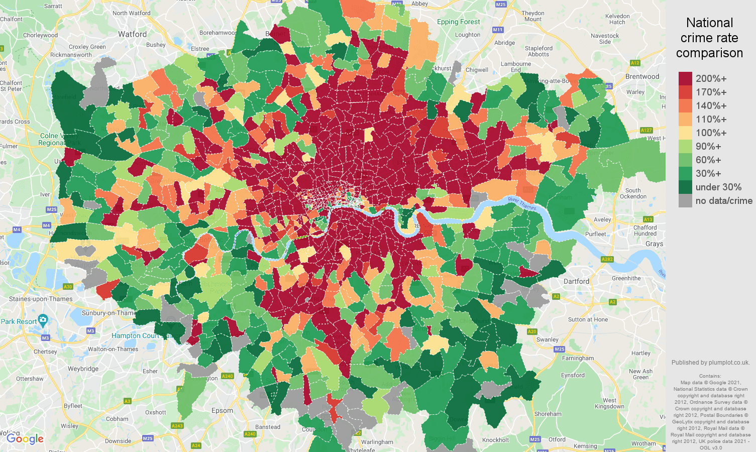 London theft from the person crime rate comparison map