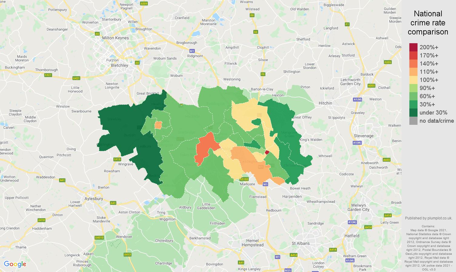 Luton antisocial behaviour crime rate comparison map
