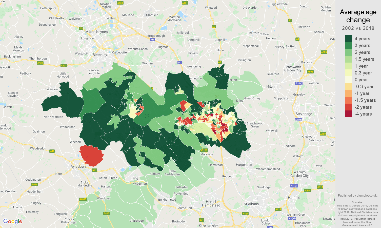 Luton average age change map