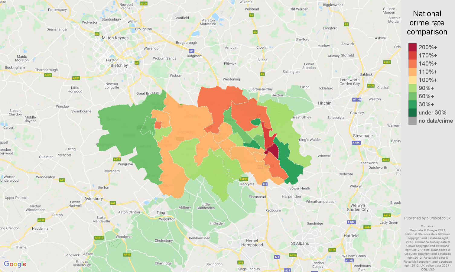 Luton burglary crime rate comparison map